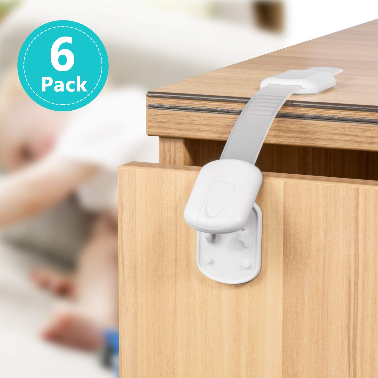Child Safety Cabinet Locks, 6 Pack Latches with Adjustable Strap for Baby Proofing Cabinets, Drawers, Appliances, Toilet Seat and Fridge - No Drilling with 3M Adhesive Included Cynkie