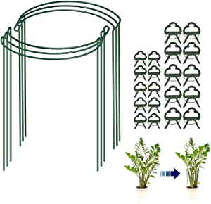 Tomato Cages for Garden Flower Tomato Stakes and Support 6-pack Plant Cages and Supports for Outdoor plants with 20 Pcs Plant Support Clips, Metal Half Round Plant Stake Ring for Tomato, Rose, Vine