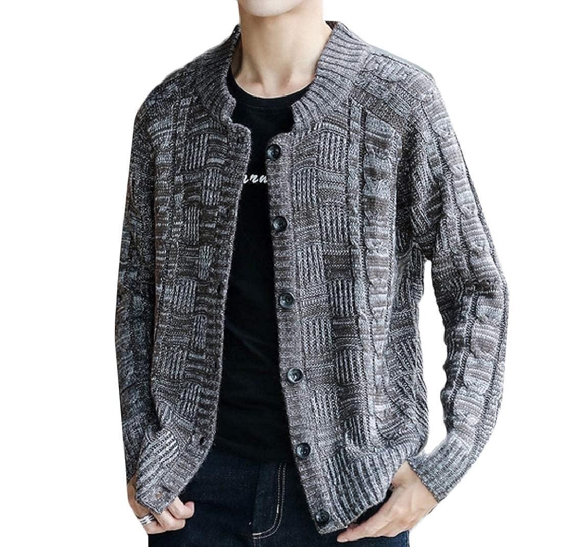 Jmwss QD Mens Casual Solid Knitting Single Breasted Cardigan Sweaters