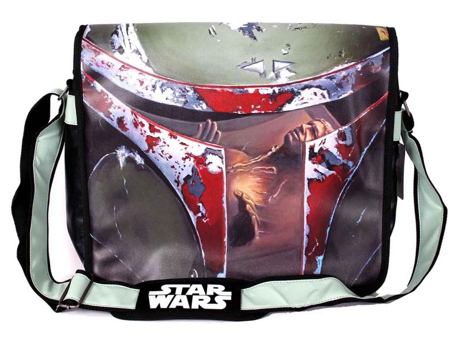 Star Wars Messenger Bag Boba Fett Bounty Hunter Vision Logo Official Green