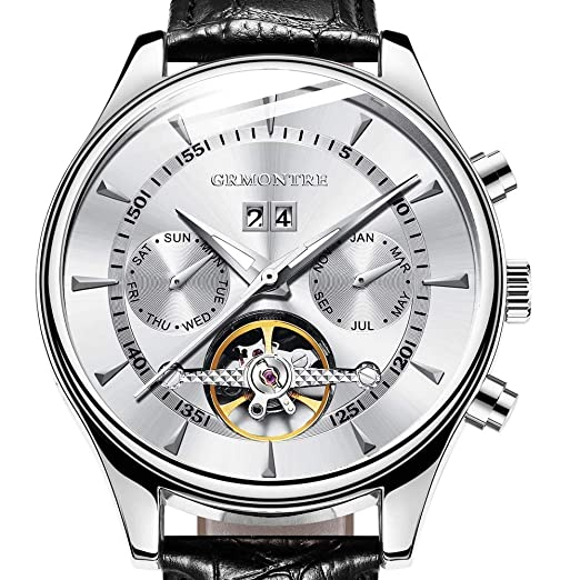 ZCFDQI Mirar Hombres Reloj Automático Totalmente Automático Tourbillon Marca De Moda De Lujo Hombre De Cuero Genuino Relojes Multifuncionales Blanco: ...