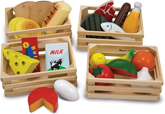 Melissa & Doug Food Groups - Wooden Play Food (Pretend Play, 21 Hand-Painted Wooden Pieces and 4 Crates, Great Gift for Girls and Boys - 3, 4, 5, and 6 Year Olds)