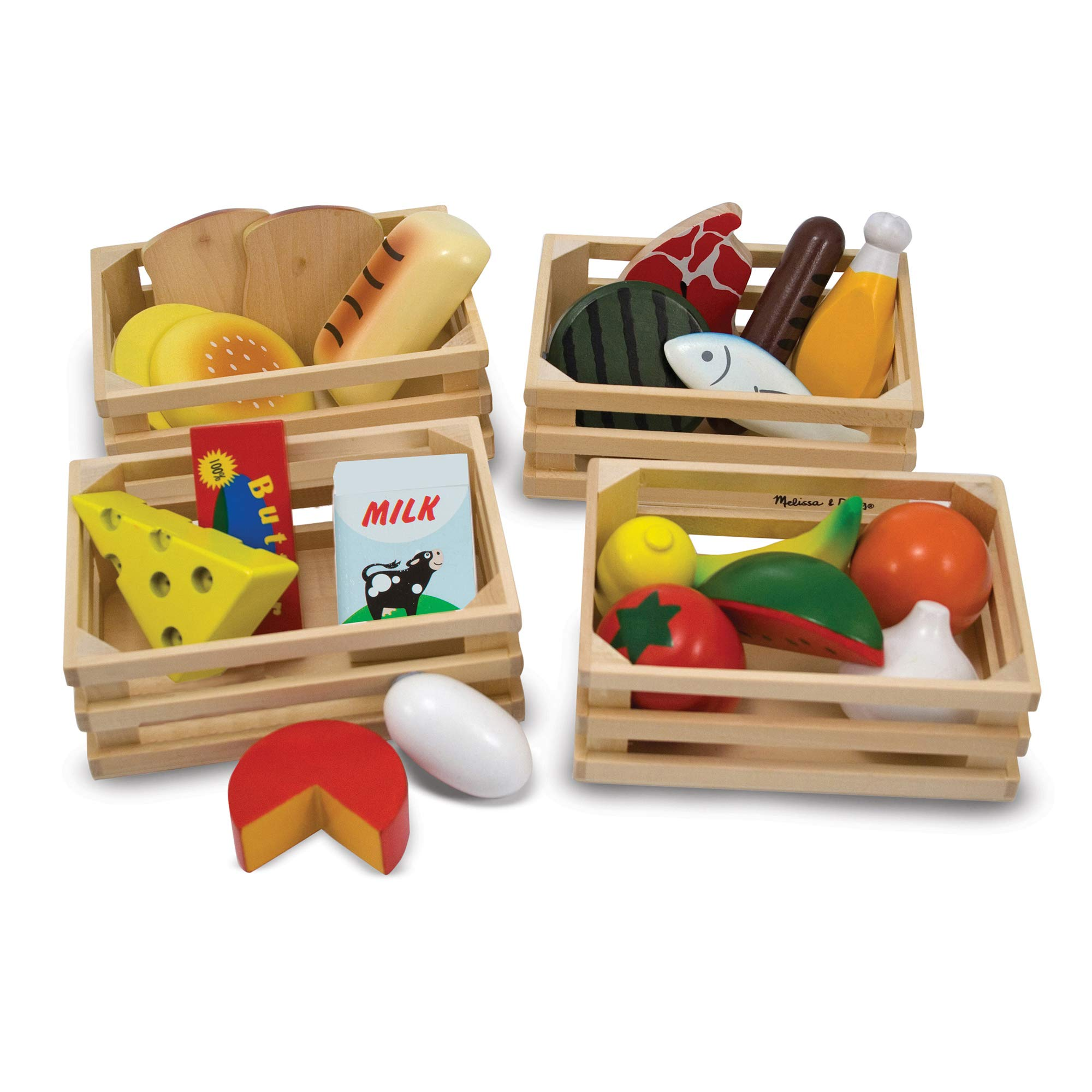 Melissa & Doug Food Groups - Wooden Play Food (Pretend Play, 21 Hand-Painted Wooden Pieces and 4 Crates)