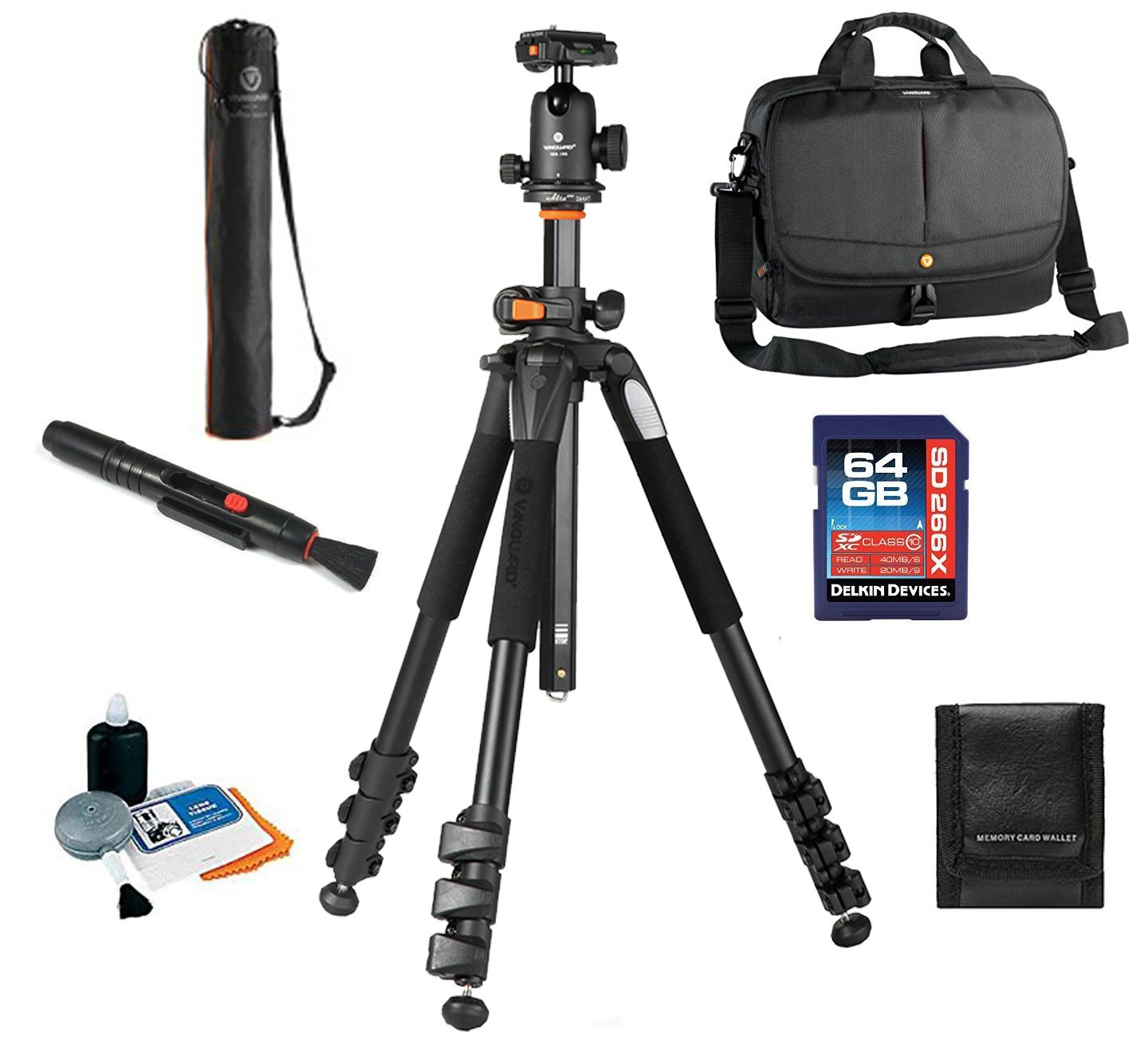Vanguard 2GO 33 Bag + Vanguard Alta Pro 264AB 4-Section Aluminum Tripod with SBH-100 Ball Head + Vanguard Case, 64GB SDXC Card, Cleaning Kit, Lens Pen, Memory Card Wallet by Vanguard