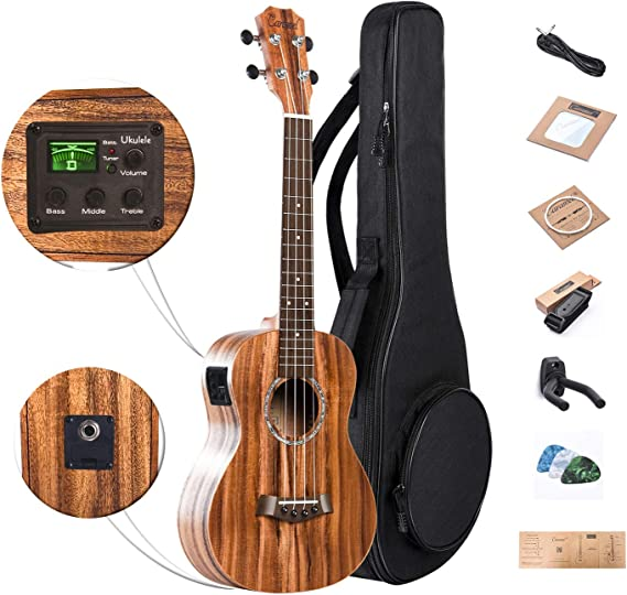 Caramel 26 inch CT204 All Solid Acacia Wood Tenor Electric Ukulele Professional Ukelele Kit Beginner Guitar Starter Bundle Aquila Strings