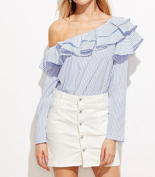 1305df101b2 Wa-Sway Women's One Shoulder Long Sleeve Striped Ruffles Blouse Shirt Tops  at Amazon Women's Clothing store: