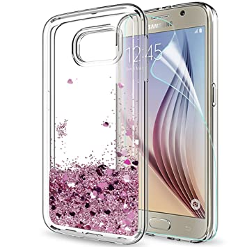 separation shoes fe827 80953 LeYi Galaxy S6 Case with Screen Protector, Girl Women 3D Glitter Liquid  Moving Cute Personalised Clear Transparent Silicone Gel TPU Shockproof  Phone ...
