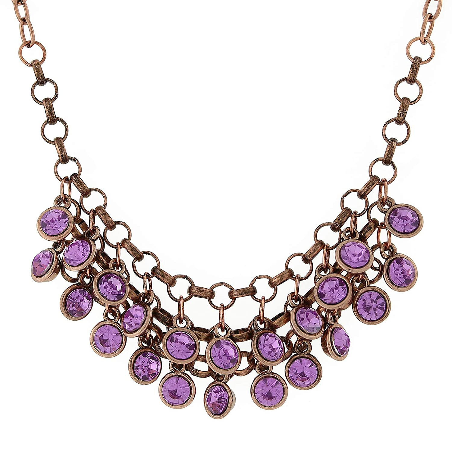 1928 Jewlery Copper-Tone Amethyst Cluster Bib Necklace 16 Adj.