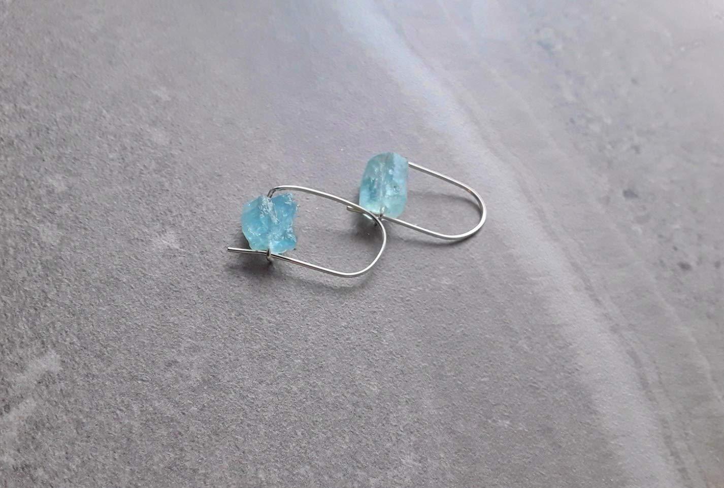Raw Aquamarine Earrings Simple Earrings Sterling Silver Jewelry Handmade Gemstone Jewelry Minimal Earrings Aquamarine Gemstone Jewelry