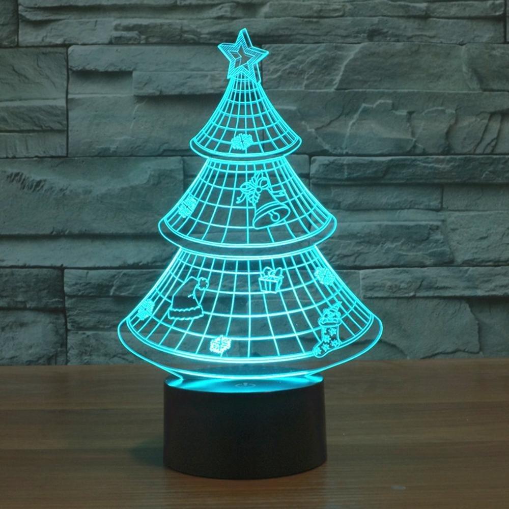 Tcaijing Nachtlicht LED Nachtlicht,LED-visuelle Lichter des Weihnachtsbaums 3D bunte Innenbeleuchtung dekorative Tischlampe
