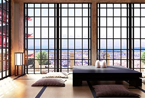 Laeacco 10x65ft Simple Japanese Style Living Room Interior City Aerial View Vinyl Photography Background Cushions Table Rattan Mat Backdrop