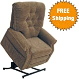 Catnapper Power Lift Full Lay-Out Recliner with Comfort Coil Seating - Soft and durable polyester fabric - Elegant button back design (Autumn) - Weight Capacity 350 lb.