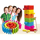 Kinderplay Wooden Tumbling Tower 60pcs Large Colorful Deluxe Stacking Board Games with Dice and Storage Bag. Wooden Building Blocks for Kids!