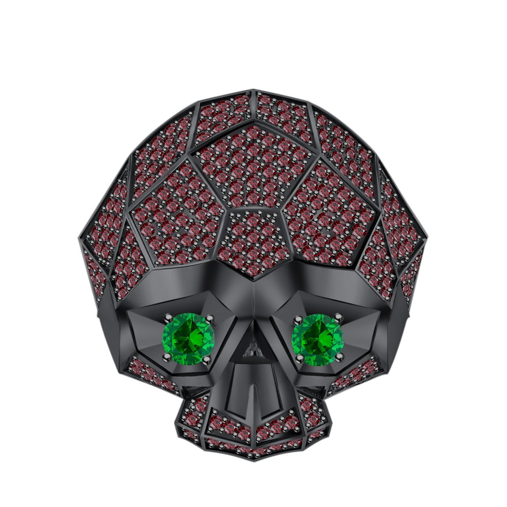 tusakha Men's Women's 14K Black Gold Plated 3.50 ctw Red Garnet & Emerald Half Jaw Skull Ring by tusakha