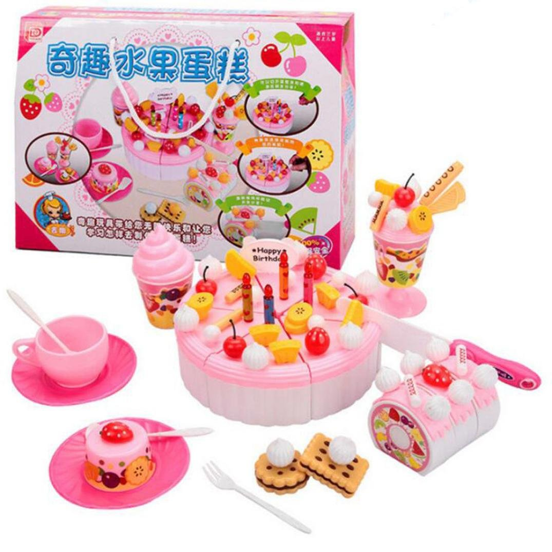 DIY Party Toy Cake, SUKEQ Novelty Kids Cutting Food Fruit Cake Pretend Play Toys/Educational Toys/Christmas Gift/Birthday Gift/Fun Toys/Role Play Toy, 73PC