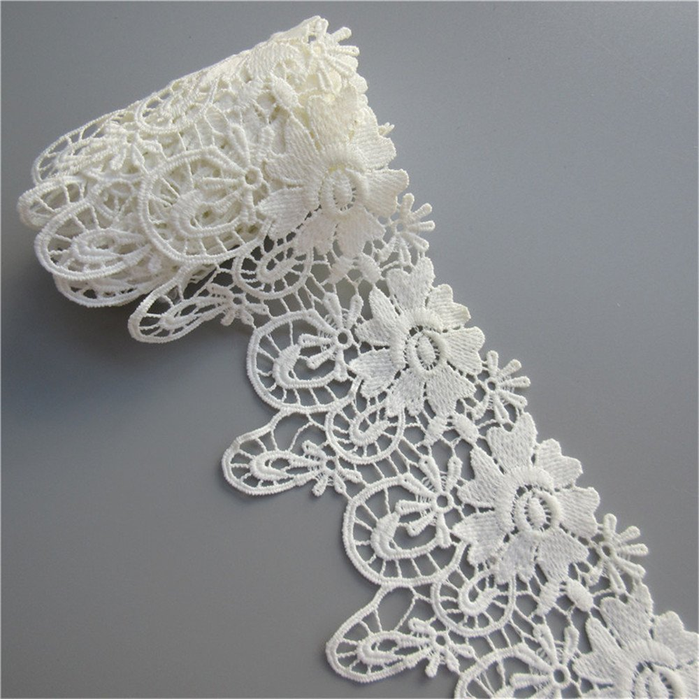 2 Yards 3.54 Wide (90mm) Vintage Ivory Cotton Flowers Embroidered Lace Trim Fabric Appliques Lace Ribbon Bridal Ornaments Party Handmade DIY Sewing Supplies Craft For Costume Hat Decoration Qiuda