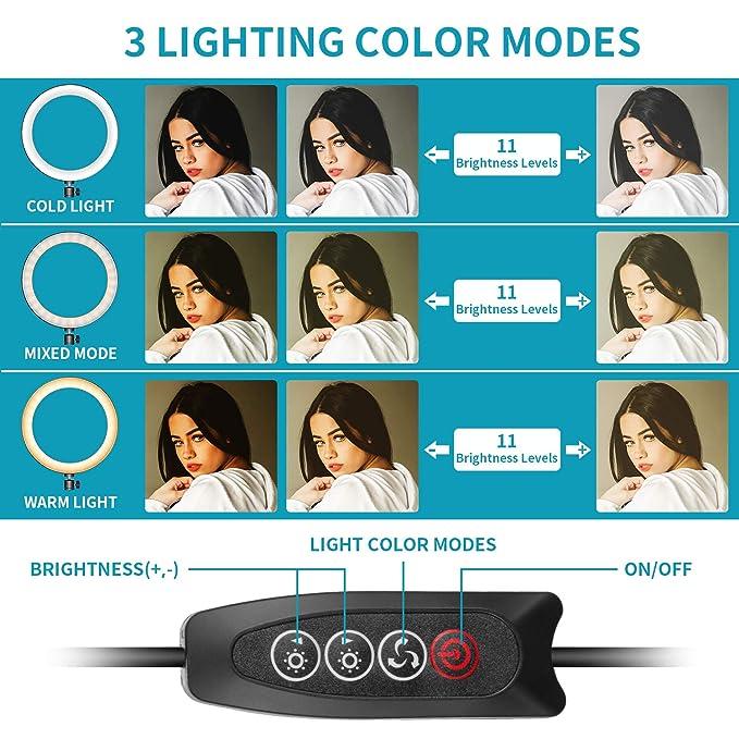 Neewer Luz Anillo LED Mejorada 26cm con Carcasa Metal para ...