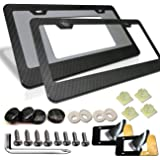 Aootf Carbon Fiber License Plate Frames - 2 Pack Aluminum Black 2 Holes Plate Frames, Front & Rear Holder with Stainless…