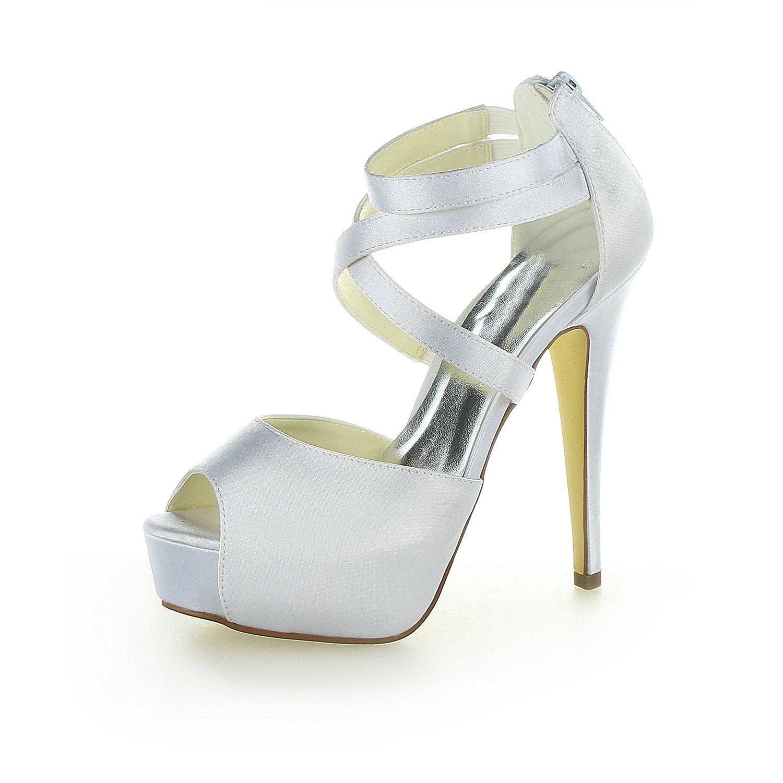JIA JIA Zapatos de Novia de Las Mujeres 20123 Peep Toe estilete Tacón Satín Plataforma Sandalias Zapatos de Boda 40 EU|Plateado