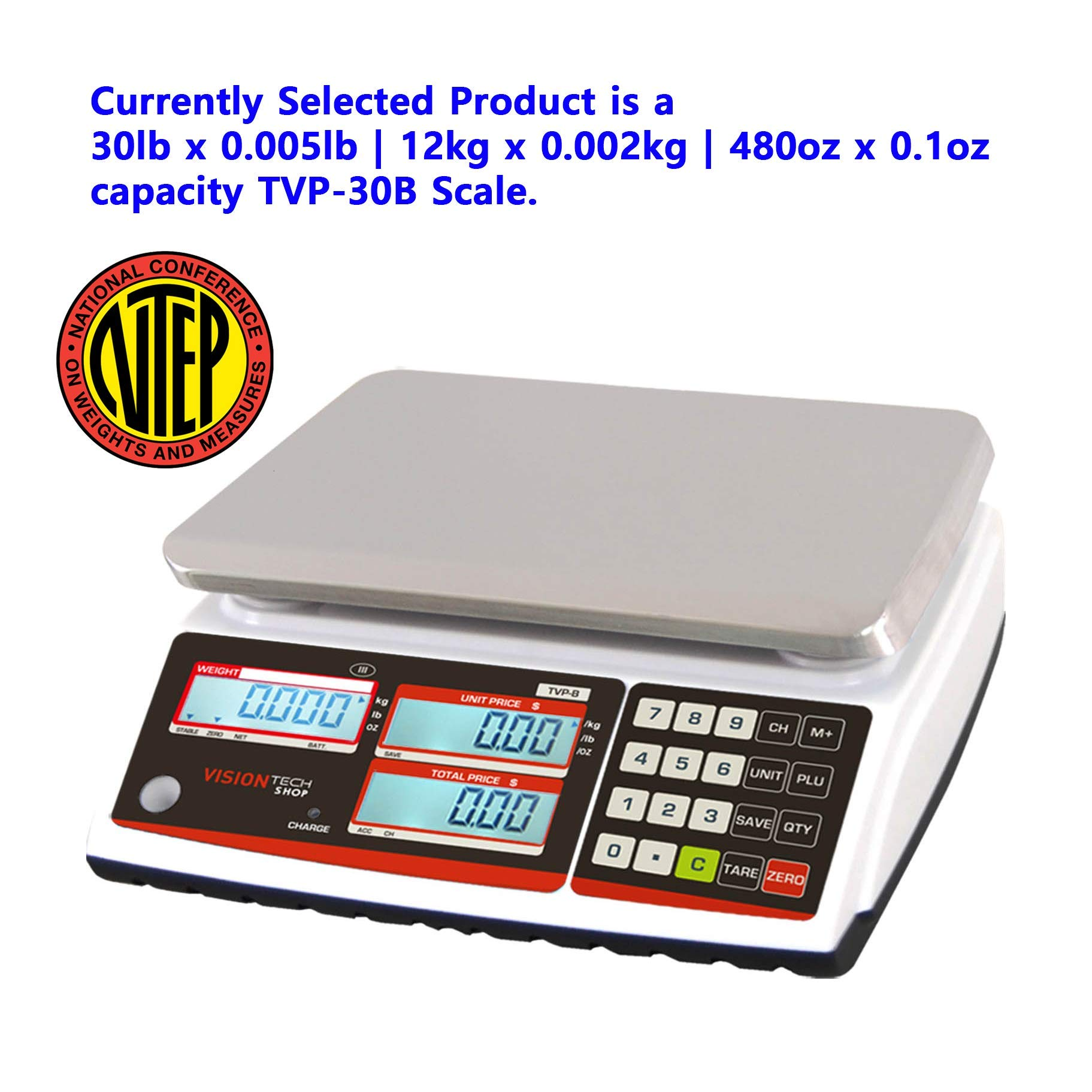 VisionTechShop TVP-30B Price Computing Scale, Lb/Oz/Kg Switchable, 30lb Capacity, 0.005lb Readability, NTEP Legal for Trade
