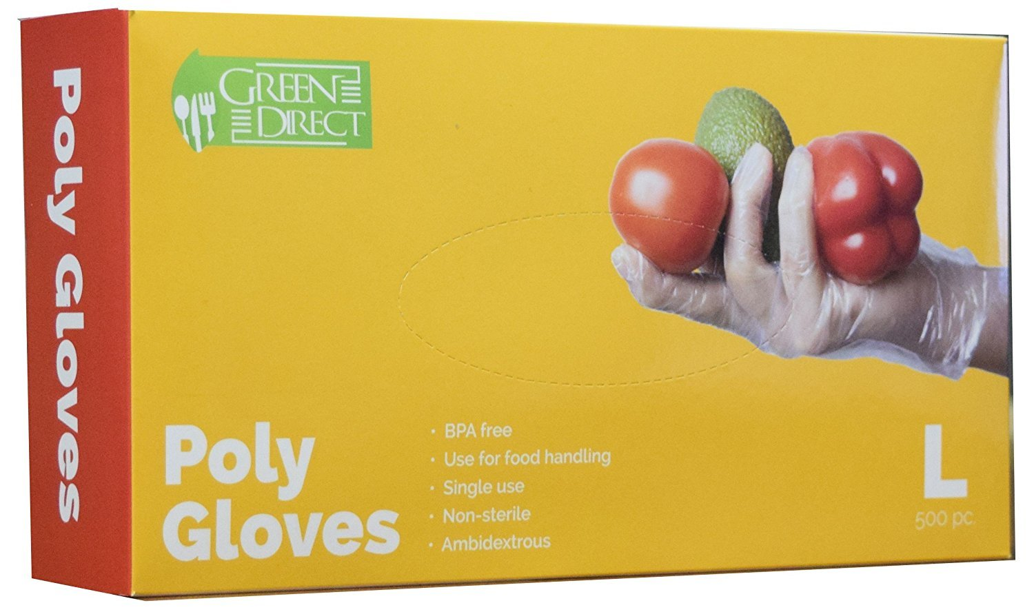 Green Direct Disposable Food Preparation Poly Gloves 2 Box of 500, Size Large,Clear