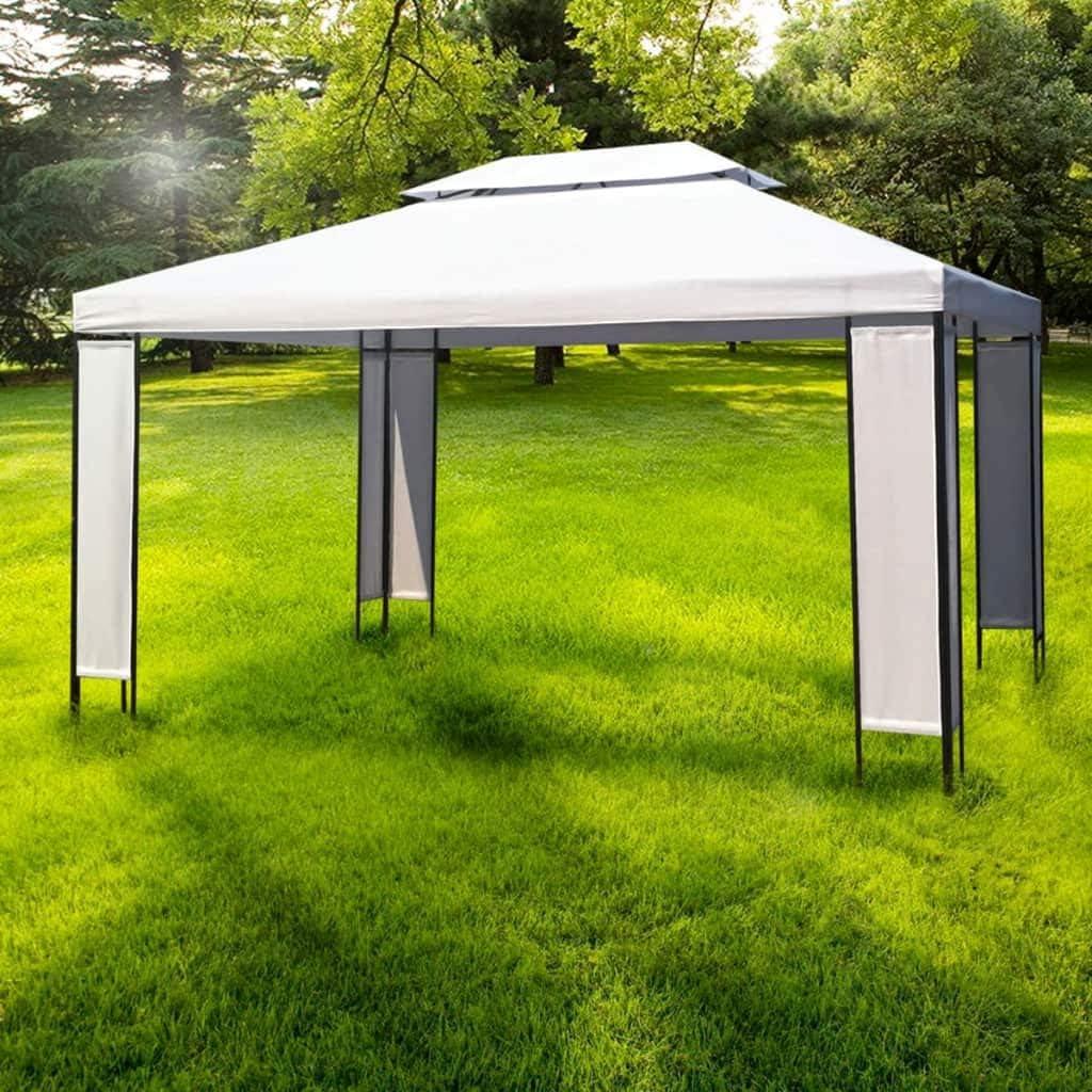 vidaXL Carpa de Jardín Acero y Tela Blanco y Negro 3x4 m Cenador de Patio: Amazon.es: Hogar
