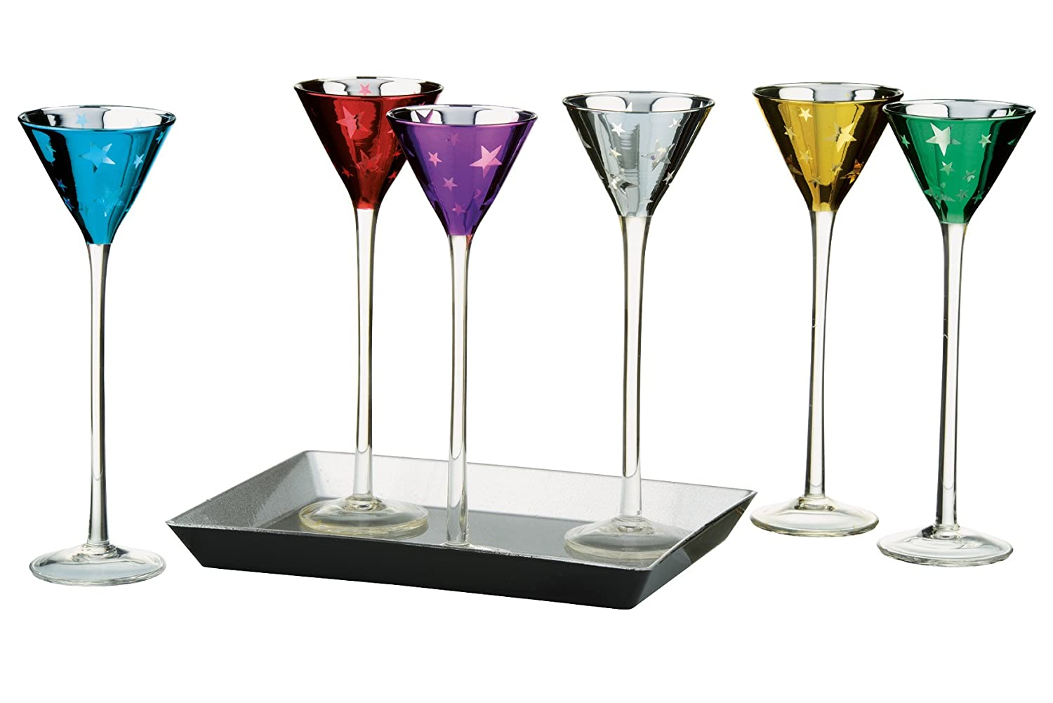 Artland Stars Assorted Color 1.5 Ounce Conical Cordial Glass, Set of 6 with Tray ART61125