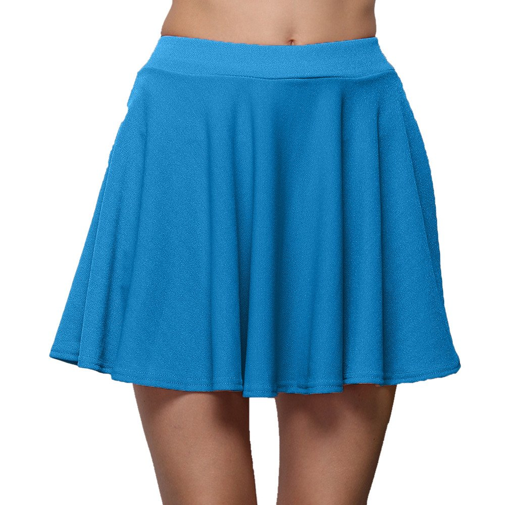 EINCcm Women's Basic a Line Pleated Circle Stretchy Flared Skater Skirt Summer Short Skirt(Sky Blue, L)