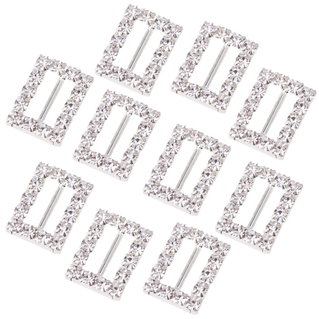 Sharplace 10Pieces Rectangle 10mm Rhinestone Buckle Invitation Ribbon Slider For Wedding Supplies Gift Wrap Hair Bow