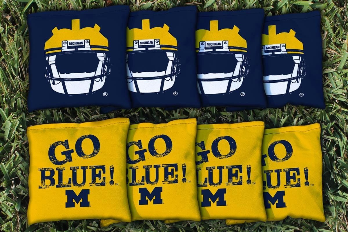 Replacement Michigan Wolverines Go Blue Cornhole Bag Set (corn-filled)