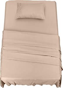 Utopia Bedding Bed Sheet Set - 3 Piece Twin XL Bedding - Soft Brushed Microfiber Fabric - Shrinkage & Fade Resistant - Easy Care (Twin XL, Beige)