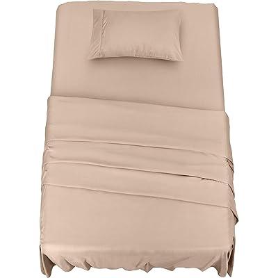Utopia Bedding - Juego Sábanas de Cama - Microfibra Cepillada - Sábanas y 1 Funda de Almohada - (Cama 90, Beige)