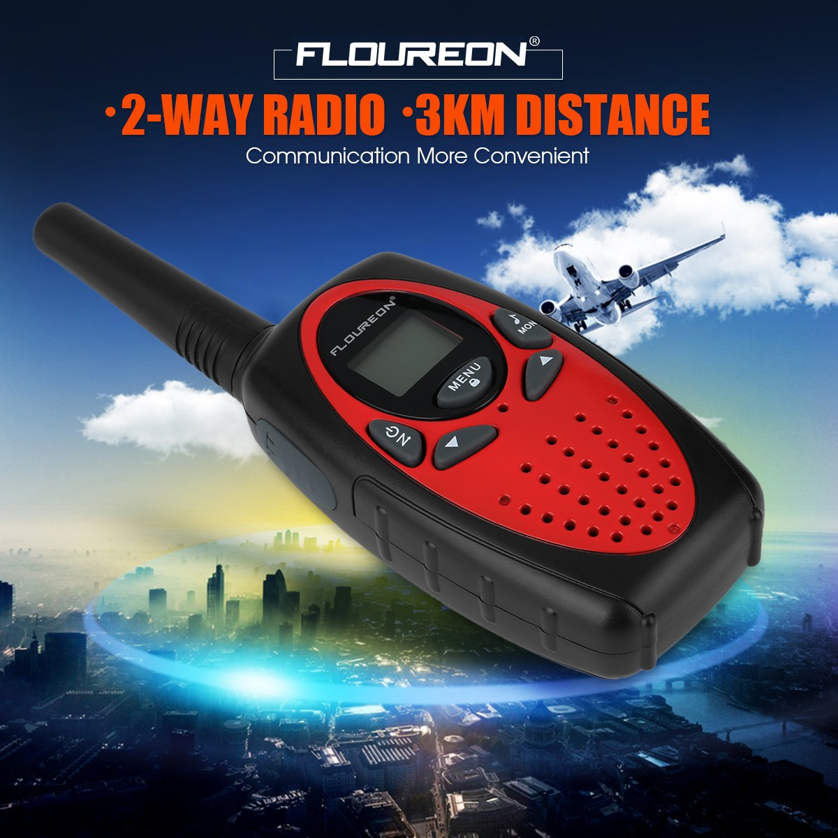 Floureon 4 Packs 22-Channel FRS/GMRS Two Way Radios Up to 3000M/1.9MI Range (MAX 5000M/3.1MI) Handheld Walkie Talkies for Outdoor Adventure (Red) by floureon (Image #6)