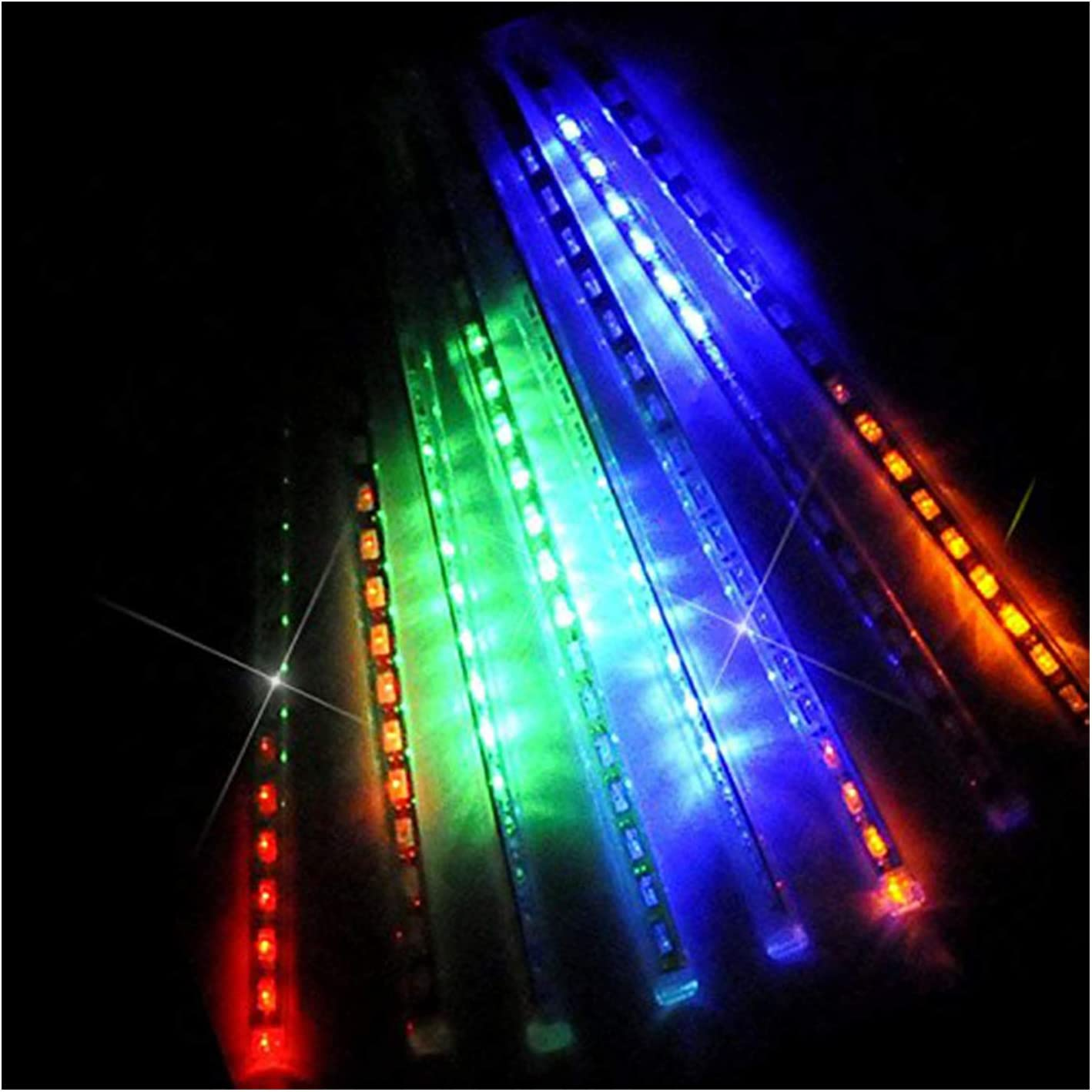 OMGAI LED Meteor Shower Rain Lights - Waterproof Drop Icicle Snow Falling Raindrop 30cm 8 Tubes Cascading Lights for Wedding Xmas Home Décor, Colourful