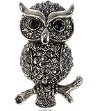 Alilang Owl Bird Perch Branch Sitting Crystal Rhinestone Fashionable Brooch Pin