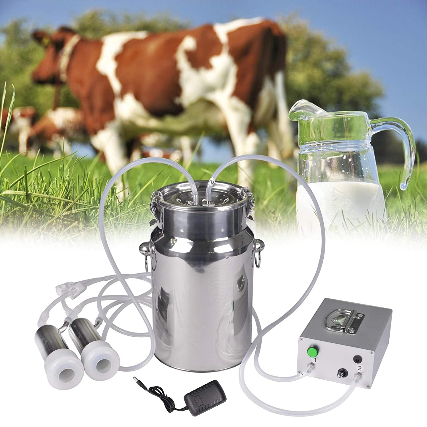 Cow Milking Machine Pump Milker Machine Auto-Stop Device for Cow Livestock Household Farm Stainless Steel Food Grade Bucket Milking Device 14L