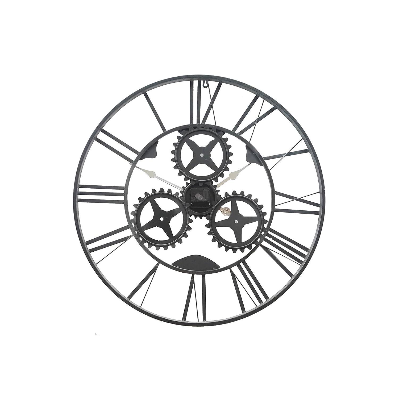 con Numeri Romani Diametro 70 cm x P 4 cm Salotto Cucina Grigio Rebecca Mobili Orologio a Muro in Ferro RE4984 Art