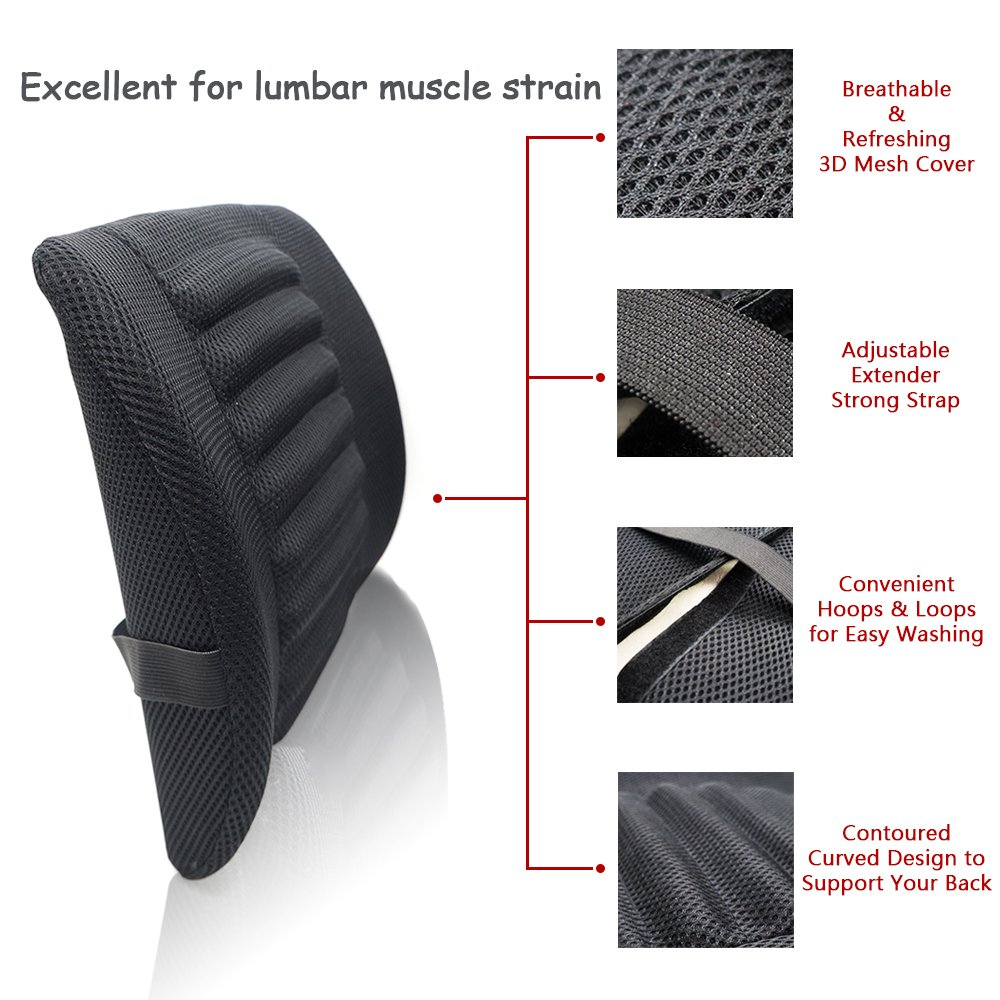 Perfect for Car Office Chair Home Sofa Black LOCEN Relief Lumbar Muscles Cushion Lower Back Pain Comfort Support Pillow