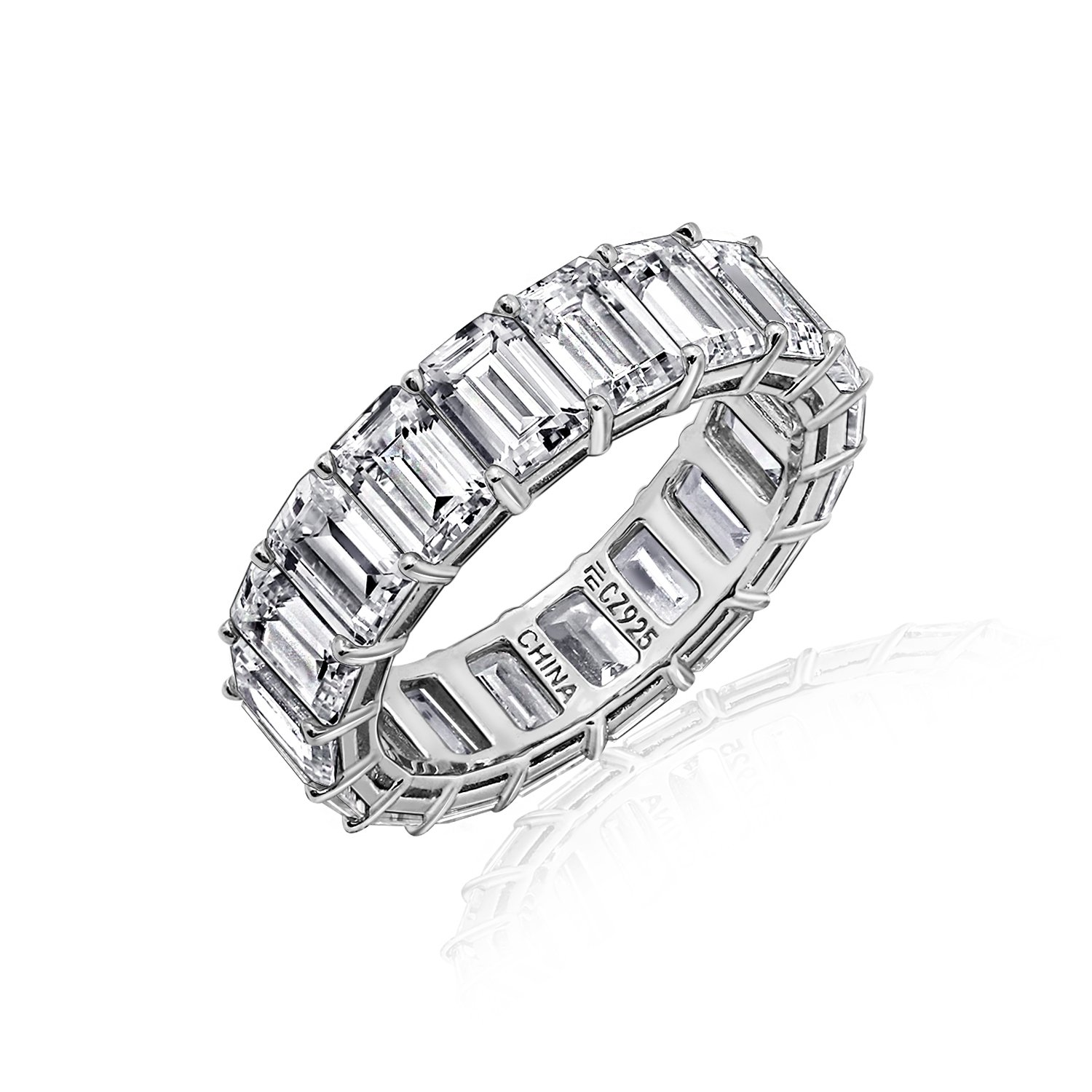 DIAMONBLISS Sterling or 14K Gold Clad Cubic Zicornia Emerald Cut Band Ring -Rhodium, size 8