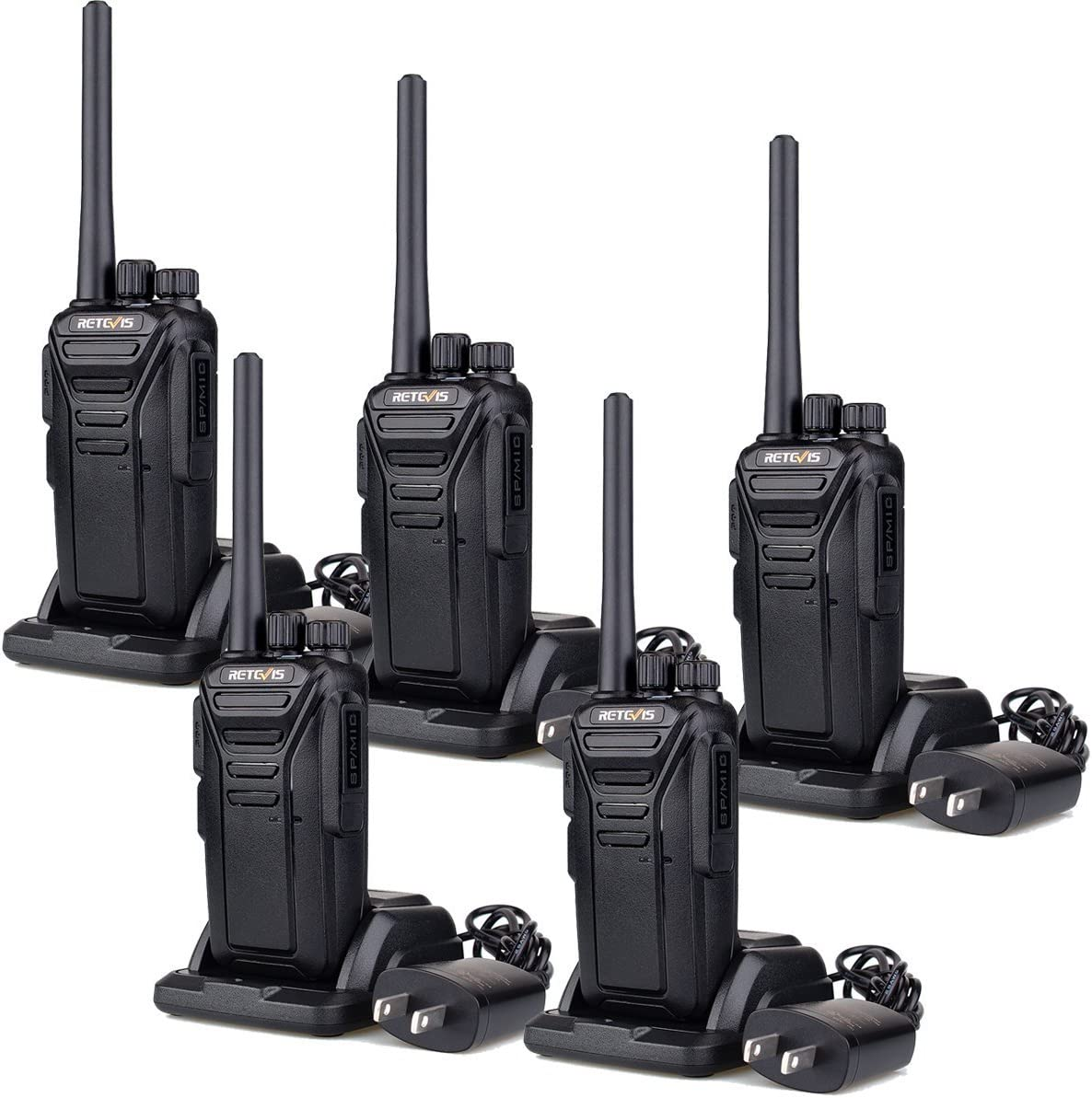 Retevis RT27 Walkie Talkies for Adults Rechargeable Long Range 2 Way Radio Anti Fall 22 CH VOX Two Way Radio(Black,5 Pack)