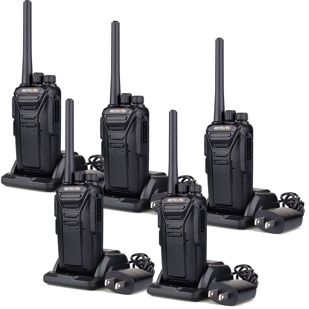 Retevis RT27 Walkie Talkies Rechargeable Long Range FRS Two Way Radio 22CH Encryption VOX 2 Way Radio (Black,5 pack) by Retevis