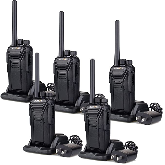 Retevis RT27 Walkie Talkies FRS Radio 22CH Scrambler VOX FCC Certification License-free 2 Way Radio (Black,5 pack)