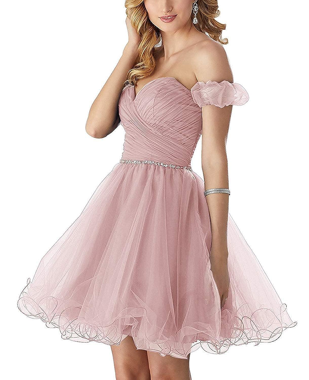 bluesh Hjtrust Women's Tulle Homecoming Dresses Short 2018 Off Shoulder Mini Cocktail Dress for Party H115