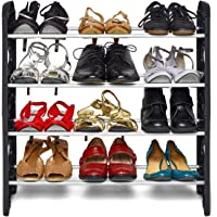 Pureus Foldable Shoe Rack with 4 Shelves (Plastic Rod)