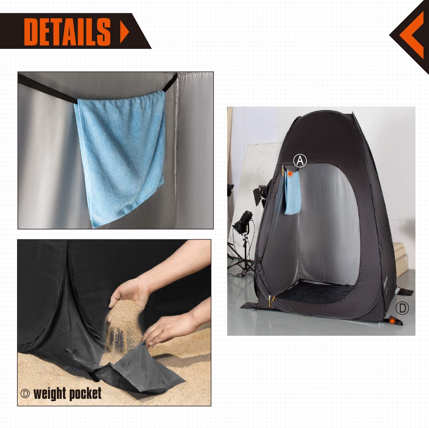 KingCamp Pop Up Dressing Changing Tent Shower Room Detachable Floor for Camping Outdoor Beach Toilet Portable with Carry Bag: Sports & Outdoors