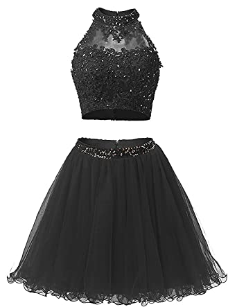 BessDress Two Piece Lace Bodice Short Homecoming Dresses Beads Prom Dresses BD134
