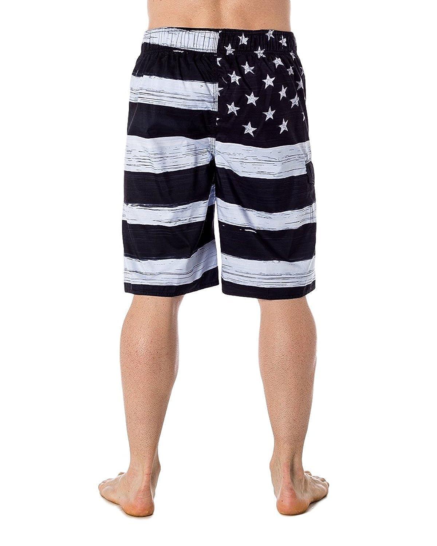 31bbac1ee5 US Apparel Men's American Flag Inspired Board Shorts | Amazon.com
