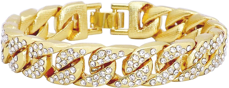 REAMTOP - Pulsera para Hombre con Cadena de eslabones de Miami cubanos chapada en Oro y Plata Brillante con Diamantes de imitación