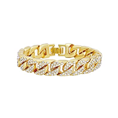 REAMTOP Mens Hip Hop Bracelet Cool Style Iced Out Miami Cuban Link Chain  Gold Plated Shiny Rhinestone Bangle Must-Have Fashion Jewelry for Rapper   ... b9145f411cb9