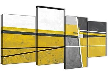 Wallfillers Grande Jaune Moutarde Gris Peinture Abstraite Salon Sur